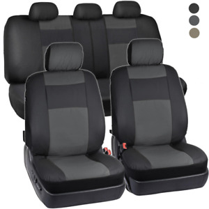 Pu Vinyl Leather Car Seat Covers 9 Pieces Front Rear Full Interior Set