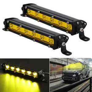 2x 7inch Yellow Slim Led Work Light Bar Single Row Offroad Driving Fog Spot Lamp
