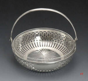 Fine Quality Vintage Watson Sterling Silver Glass Inlay Basket