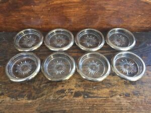 Eight Vintage 1950 S Silverplate Rimmed Glass Coasters Leonard Made In Italy 8