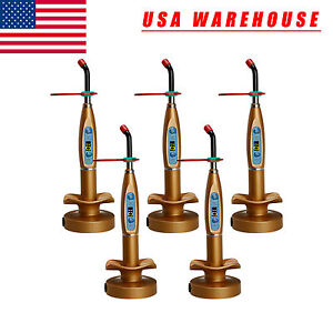 5 usa Wireless Cordless Led Dental Curing Light Lamp Strong Power Dentist Golden