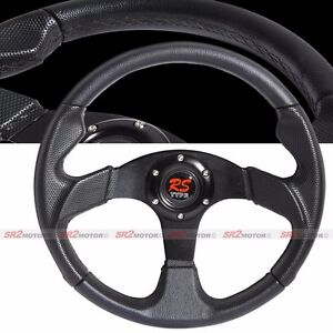 Universal Jet Black 320mm Pvc Leather Racing Steering Wheel With Horn Jdm