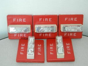 5x Cooper Wheelock Rss 24mcw fr 24vdc Fire Alarm Strobe Wall Mount Red