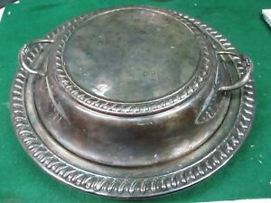 Silver Plate Round Casserole Serving Dish W Roped Edge Cover Lid 2016 H3