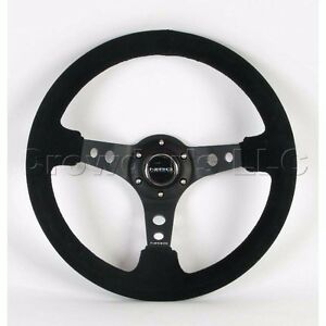 Nrg Steering Wheel 06 Deep Dish Black Suede Leather With Black Stitching St 006s