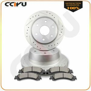 Fits Chevy Suburban Tahoe Rear Drilled Slotted Brake Discs Rotors Ceramic Pads