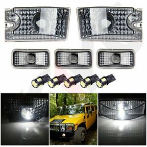 Cab Roof Marker Clearance Running Light Smoked Housing W White Led For Hummer H2