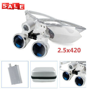 Denshine Silver 2 5x 420 Dental Surgical Binocular Loupes W Led Head Light case