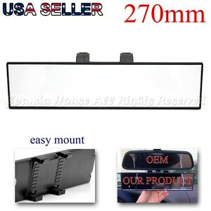 Wide 270mm Flat Interior Rear View Mirror Clip On Rectangular Glass Lens Black