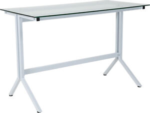 Lot Of 20 Winfield Collection Glass Computer Desk With White Metal Frame