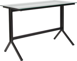 Lot Of 20 Highland Collection Glass Computer Desk With Black Metal Frame