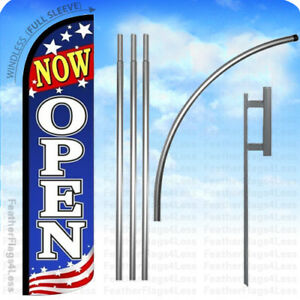Now Open Windless Swooper Flag Kit 15 Feather Banner Sign Patriotic Bz