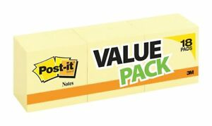 Post it Sticky Notes 3x3 In Yellow Pk18 654 14 4yw