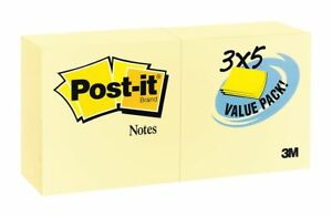 Post it Sticky Notes 3x5 In Yellow Pk24 655 24vad