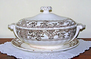 K Co Victoria Ironstone Tureen Lid Underplate Brown Transferware Aesthetic