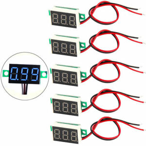 5x Mini Blue Dc 3 30v Led Panel Voltmeter 3 Digital Display Voltage Meter 2wires