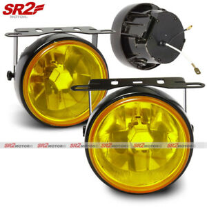 Universal 3 5 Round Yellow Glass Lens Bumper Driving Fog Lamp Lights Kit