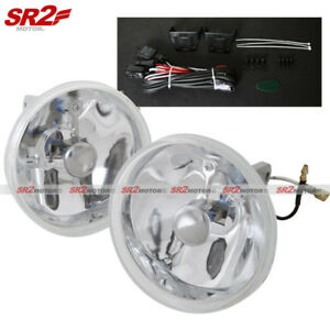 Universal 4 Round Clear Lens Chrome Bumper Driving Fog Lamp Lights Kit
