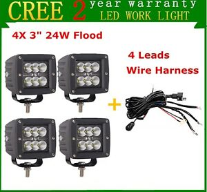 4x 3 inch 24w Cree Cube Pods Led Work Light Flood Lamp With 4 Leads Wire Harness