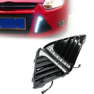 Fit Ford Focus 11 14 White Led Drl Daytime Running Light Fog Lamp 12v