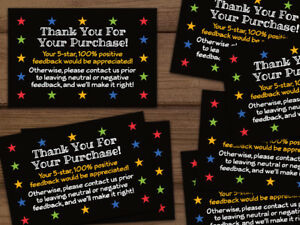 Thank You For Your Purchase 5 Star Shipping Labels Stickers 2x3 Black 25 1000