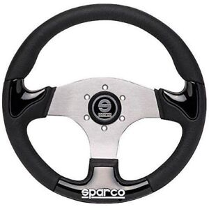 Sparco 015thpunr345 P222 Street Racing Steering Wheel 345 Mm Dia Black Leather