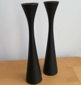 2 Vtg Tyrna Painted Wood 9 Inch Candlesticks Danish Modern Mcm Candle Holders