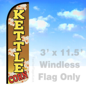 Kettle Corn Windless Swooper Flag 3x11 5 Feather Banner Sign Yq