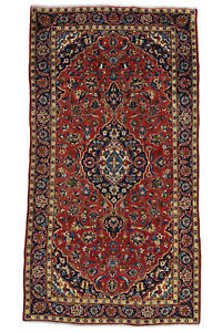 Vintage Persian Ardekan Design Rug 4 X8 Red Blue All Wool Pile