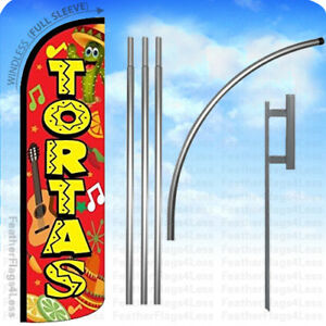 Tortas Windless Swooper Flag Kit Feather Banner Sign 15 Set Rq