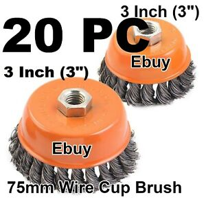 20pc 3 X 5 8 11 Nc Fine Knot Wire Cup Brush Twist For Angle Grinders Wheel