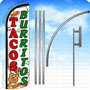 Tacos Burritos Windless Swooper Flag 15 Kit Feather Banner Sign Wq