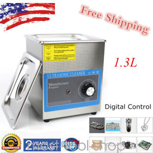 1 3l Ultrasonic Cleaner Bath Jewelry Dental Cleaning Machine Timer Stainless 60w