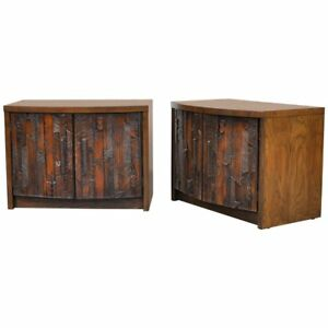Mid Century Brutalist Cabinet Pair Nightstands End Tables Lane Danish Modern 60s