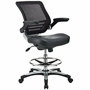 Modway Edge Drafting Chair In Black Vinyl Reception Desk Chair Tall Office C