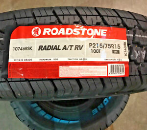 4 New 215 75 15 Roadstone Radial A T Rv White Letter Tires