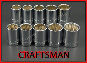 Craftsman Hand Tools 10pc 12pt 1 2 Sae Metric Mm Ratchet Wrench Socket Set