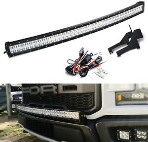 40 240w Curved Led Light Bar W Above Bumper Mounts Wiring For 17 Ford Raptor