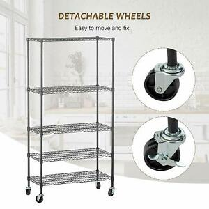 60 x30 x14 5 Tier Layer Wire Shelving Rack Heavy Duty Steel Shelf Adjustable