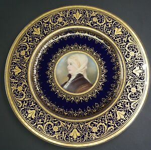 Hand Painted Cobalt Gold Wahliss Royal Vienna Portrait Plate Lady F A Kaulbach