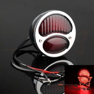 Motorcycle Chrome Cool Red Lense Taillight Lamp For Ford Model A Duolamp 1928 31