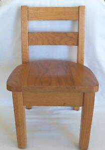 Antique Vintage Childs Solid Oak School Chair Sweet