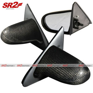 Real Carbon Fiber Spoon Style Manual Adjust Side Mirrors Fits 96 00 Civic Ek