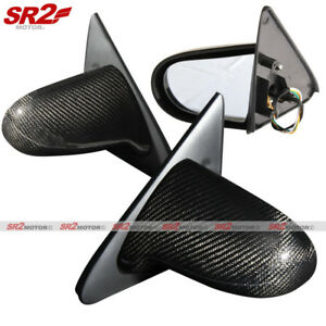 Real Carbon Fiber Spoon Style Power Adjust Side Mirrors Fits 96 00 Civic Ek