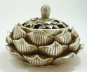 Collectible Chinese Old Tibetan Silver Lotus Shaped Incense Burner Censer