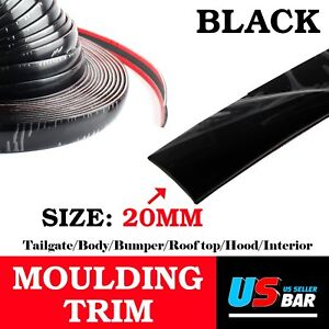 120inch Molding Trim Strip 20mm Wide Black Car Auto Roof Tail Body Side Decorate