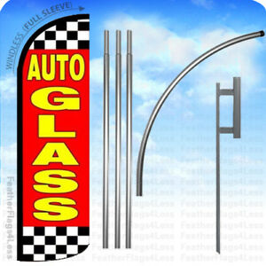 Auto Glass Windless Swooper Flag Kit Feather Banner Sign 15 Rq075
