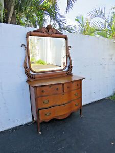 Early 1900s Oak Double Serpentine Dresser And Mirror By Basic Furniture 8772