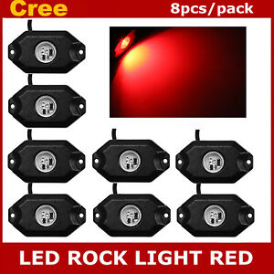 8x 3 cree 9w Led Rock Light For Jeep Wrangler Truck Suv Off road Boat Bright Red