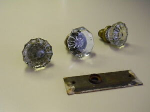2 Vintage 12 Point 1 Vintage 8 Point Crystal Glass Brass Door Knobs